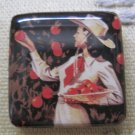 Vintage Cowgirl Picking Apples Square Magnet