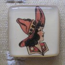 Vintage Cowgirl Bust Square Magnet
