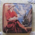 Vintage Cowgirl in Mountains Square Magnet