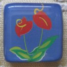 Colorful Red Flower with Blue Background Square Magnet