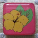 Colorful Yellow Flower on Pink Background Square Magnet