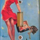 Single Switch Plate Cover, Pin Up Girl in Red Dress, Blue Background