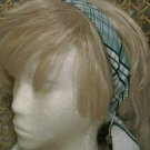 White and Green Vintage Scarf on Head Band