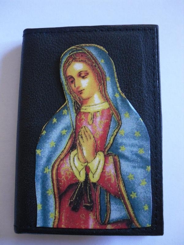 Hand Decorated Black Mini Wallet, Virgin Mary Picture