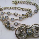 Vintage Finding Pendant, Gray Crystals, Chain Necklace