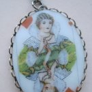 Oval Cameo Necklace, White Background with Queen Playing Card