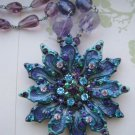 Colorful Flower Pendant with Colored Rhinestones on Purple Glass Beaded Necklace