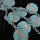 Teal and Gold Colored Disks, on Teal Chain Necklace