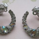 Rhinestones on Circular Design, Silver Clip-On Earrings