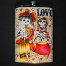 "Stainless Steel Flask - 8oz., Day of the Dead Couple with ""Love"""