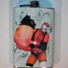 Stainless Steel Flask - 8oz., Lucha Libre Men Wrestling with Light Blue Background