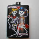Stainless Steel Flask - 8oz., Day of the Dead Skeletons with Black Background