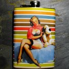 Stainless Steel Flask - 8oz., Pin Up Girl Holding Stuffed Animal