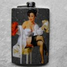Stainless Steel Flask - 8oz., Pin Up Girl on Gray Print Background