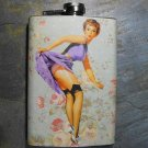 Stainless Steel Flask - 8oz., Pin Up Girl in Purple Dress Gray Background