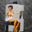 Stainless Steel Flask - 8oz., Pin Up Girl Holding X-Ray