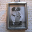 """First Kiss"" Vintage Black and White Children Print Charm, Necklace Pendant"
