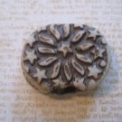 Carved Clay Bead, Stars and Sun Design, Images on Both Sides
