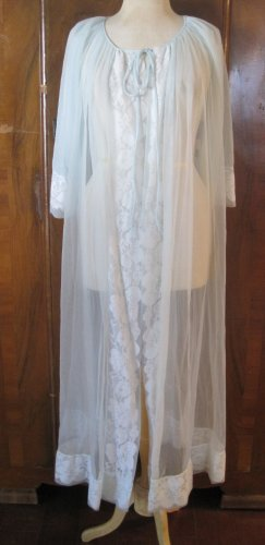 Vintage Baby Blue Sheer Robe with Lace Accents
