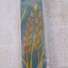 Hand Painted Mezuzah, Wheat Stalk Picture with Teal Background