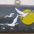 """Seagulls"" Retro Art Print on Wooden Plaque"