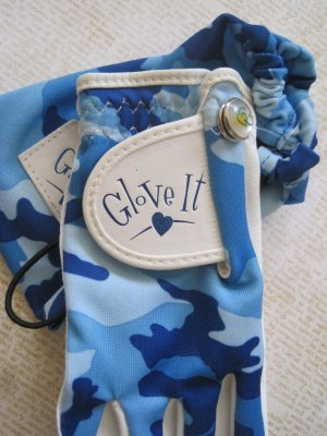"""""""Glove It"""", Golf Glove, Marker, and Bag, Blue Camouflage Print"""