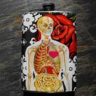 Stainless Steel Flask - 8oz., Skeleton Insides, on Rose Print Background