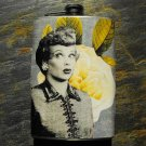 Stainless Steel Flask - 8oz., Lucille Ball on Flower Background