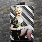 Stainless Steel Flask - 8oz., Marilyn Monroe on White and Black Background