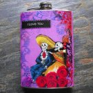 Stainless Steel Flask - 8oz., Day of the Dead Couple on Rose and Purple Print Background