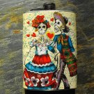 Stainless Steel Flask - 8oz., Day of the Dead Couple on Yellow Print Background