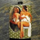 Stainless Steel Flask - 8oz., Pin Up Girl Looking in Mirror on Green Background