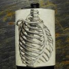 Stainless Steel Flask - 8oz., Black and White Rib Cage Print