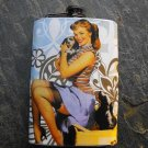 Stainless Steel Flask - 8oz., Pin Up Girl with Puppy on Blue Background