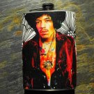 Stainless Steel Flask - 8oz., Jimi Hendrix on Flower Background