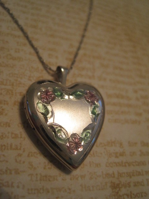 Silver Heart Shaped Locket with Rose Design, Silver Chain Necklace