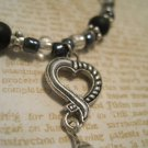 Hand Made Beaded Bracelet with Silver Heart Charm