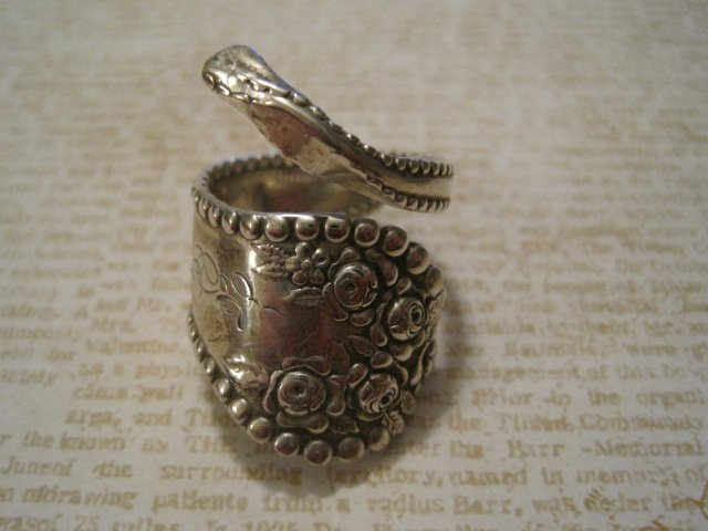 Retro Silverware Handle Ring, Carved Initial and Flower Design, Size 8