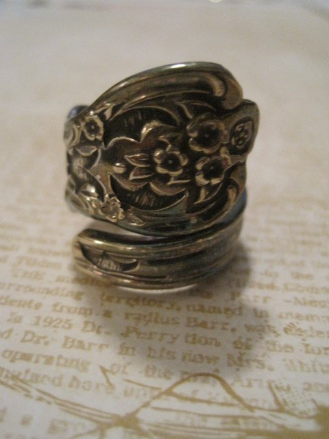 Silverware Handle Ring, Intricately Carved Flower Design, Size 8.5
