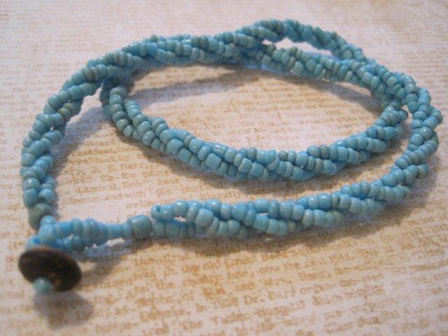 Light Blue Beaded Twist Necklace, Button Hook