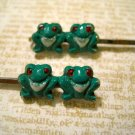 Two Retro Hand Painted Double Frog Bobby Pins, Hair Clips