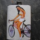Stainless Steel Flask - 8oz., Pin Up Girl Riding Bicycle Polka Dot Background