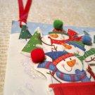 Snowmen Sledding, Holiday Gift Tag, Red Ribbon
