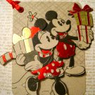 Minnie and Mickey Mouse Carrying Gifts, Holiday Gift Tag, Red Ribbon