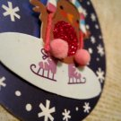 Penguin in Hat Ice Staking, Holiday Gift Tag, White Ribbon