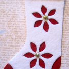 White and Red Felt Flower Stocking, Holiday Gift Tag, Red Ribbon