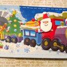 Santa on Toy Train, Removable Tag Center, Holiday Gift Tag, Green Ribbon