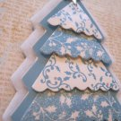 Blue and White Print Paper Tree Holiday Gift Tag, White Ribbon
