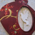 Holiday Dove on Red Ornament Holiday Gift Tag, Gold Ribbon