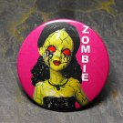 Zombie Girl on Pink Background, Print Decorated Vanity Pocket Mirror